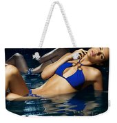 Beautiful Young Woman In Blue Bikini Weekender Tote Bag