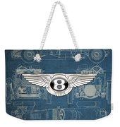 Bentley - 3 D Badge Over 1930 Bentley 4.5 Liter Blower Vintage Blueprint Weekender Tote Bag