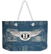 Bentley - 3 D Badge Over 1930 Bentley 4.5 Liter Blower Vintage Blueprint Weekender Tote Bag