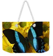 Black And Blue Butterfly Weekender Tote Bag