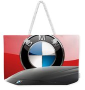 Black B M W - Front Grill Ornament And 3 D Badge On Red Weekender Tote Bag