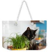 Black Cat Eating Cat Grass Weekender Tote Bag