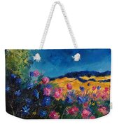 Blue And Pink Flowers Weekender Tote Bag