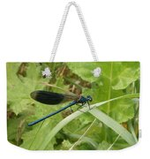 Blue Dragonfly On Leaf Weekender Tote Bag