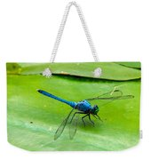 Blue Dragonfly On Lily Pad Weekender Tote Bag