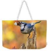 Blue Jay With Acorn Weekender Tote Bag