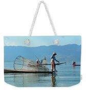 Boatmen On Inle Lake  Weekender Tote Bag