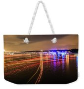 Boats Light Trails On Lake Wylie After 4th Of July Fireworks Weekender Tote Bag