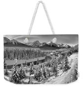 Bow Valley River View Black And White Weekender Tote Bag