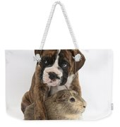 Boxer Puppy And Guinea Pig Weekender Tote Bag