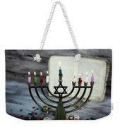 Brightly Glowing Hanukkah Menorah - Shallow Depth Of Field Weekender Tote Bag