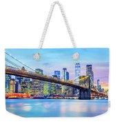Brooklyn Bridge And The Lower Manhattan Skyline Weekender Tote Bag by Mihai Andritoiu
