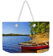 Canoe On Shore Weekender Tote Bag