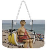 Caveman Above Beach Santa Cruz Boardwalk Weekender Tote Bag