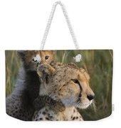 Cheetah Acinonyx Jubatus And Cub Weekender Tote Bag
