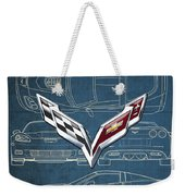Chevrolet Corvette 3 D Badge Over Corvette C 6 Z R 1 Blueprint Weekender Tote Bag