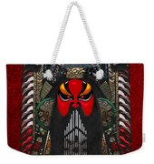 Chinese Masks - Large Masks Series - The Red Face Weekender Tote Bag by Serge Averbukh
