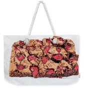 Chocolate Cake With Strawberry On Porcelain Plate Weekender Tote Bag