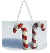 Christmas Candy Canes On Real Snow Weekender Tote Bag