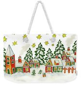 Christmas Picture In Green And Yellow Colours Weekender Tote Bag