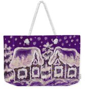 Christmas Picture On Crimson Background Weekender Tote Bag