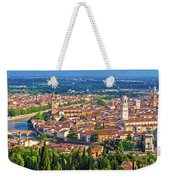 City Of Verona Old Center And Adige River Aerial Panoramic View Weekender Tote Bag
