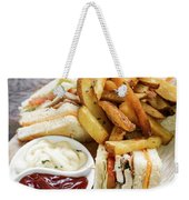Classic Club Sandwich With Fries On Wooden Board Weekender Tote Bag