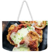 Classic  Italian Chicken Parmigiana With Cheese And Tomato Sauce Weekender Tote Bag