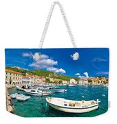 Coastal Town Of Hvar Waterfront Panorama Weekender Tote Bag
