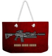 Colt  M 4 A 1  S O P M O D Carbine With 5.56 N A T O Rounds On Red Velvet  Weekender Tote Bag