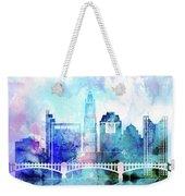 Columbus  Watercolor Skyline Weekender Tote Bag