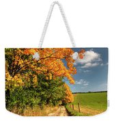 Country Road And Autumn Landscape Weekender Tote Bag