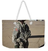 Crew Chief Of A Ch-47 Chinook Stands Weekender Tote Bag