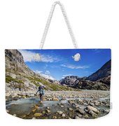 Crossing A River In Patagonia Weekender Tote Bag