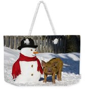 Curious Piglet And Snowman Weekender Tote Bag