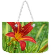 Daylily On Green Weekender Tote Bag