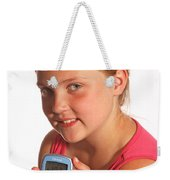 Diabetic Child With Blood Glucose Tester Weekender Tote Bag