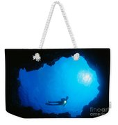 Diver At Cavern Entrance Weekender Tote Bag