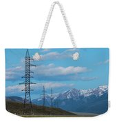 Electric Power Transmission Pylons On Inner Mongolia Grassland At Sunrise  Weekender Tote Bag