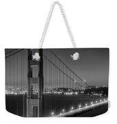 Evening Cityscape Of Golden Gate Bridge - Monochrome Weekender Tote Bag