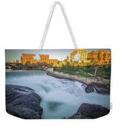 Falls And The Washington Water Power Building Along The Spokane  Weekender Tote Bag