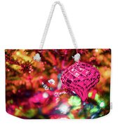 Festive Christmas Tree With Lights And Decorations Weekender Tote Bag