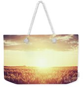 Field, Countryside At Sunset. Harvest Time. Vintage Weekender Tote Bag