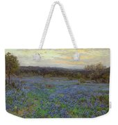 Field Of Bluebonnets At Sunset Weekender Tote Bag