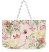 Fleurs De Pivoine - Watercolor W Butterflies In A French Vintage Wallpaper Style Weekender Tote Bag