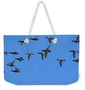 Flock Of Redhead Ducks In Flight Weekender Tote Bag