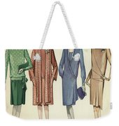 Four Flappers Modelling French Designer Outfits, 1928  Weekender Tote Bag
