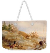 Fox And Pheasants In Winter Weekender Tote Bag by Anonymous