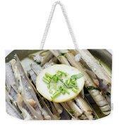 Fresh Razor Shell Seafood Steamed In Garlic Herb Wine Sauce Weekender Tote Bag