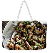 Fried Shiitake Mushrooms In Garlic Herb And Olive Oil Snack Weekender Tote Bag